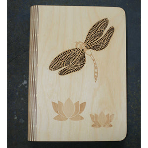 A5 Dragonfly wooden book cover