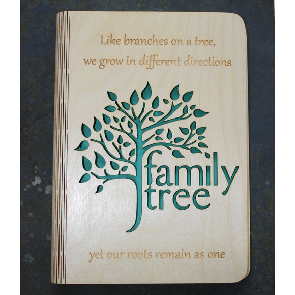 wooden note book cover with a family tree design