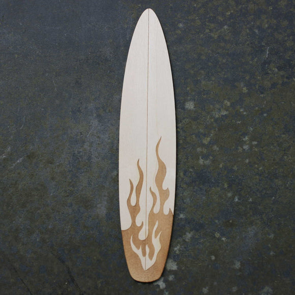 Wooden bookmark of a surfboard with a fire design