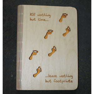 A5 Footprints wooden book cover