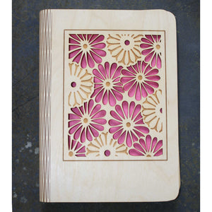 wooden note book cover with a gerbera flower design