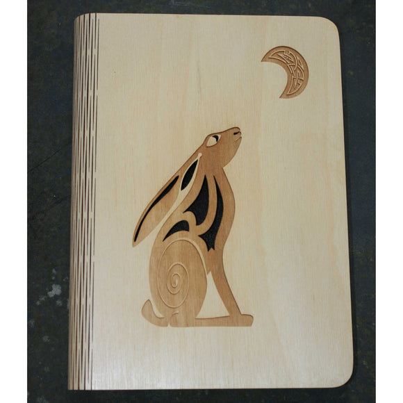 A5 Hare and moon wooden book cover
