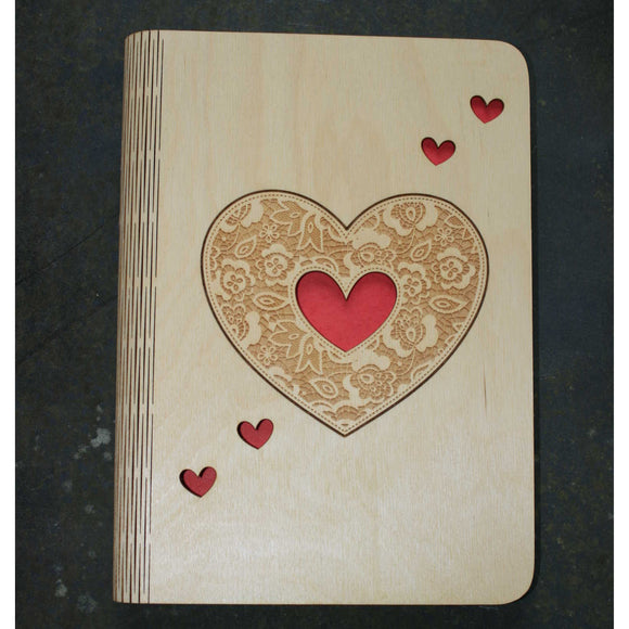 A5 Hearts wooden book cover