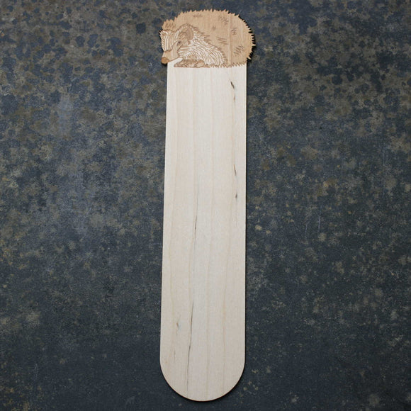 Wooden bookmark with a hedgehog design