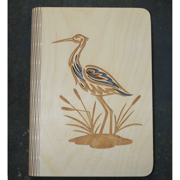 A5 Heron wooden book cover