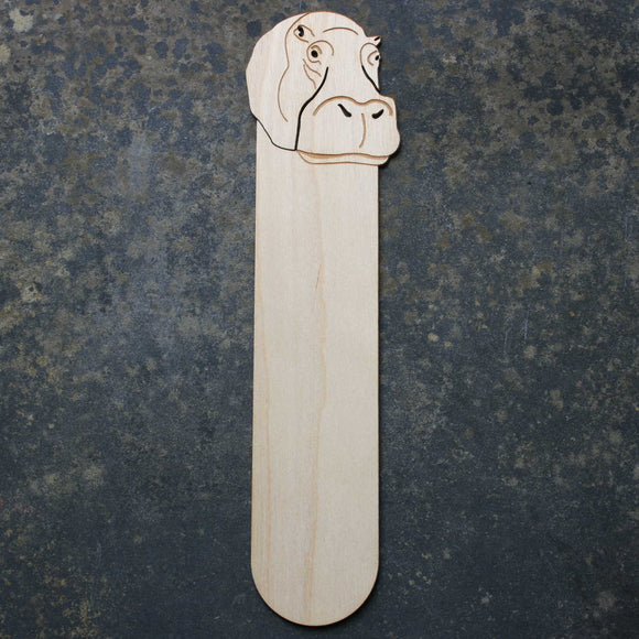 Wooden bookmark with a hippo design