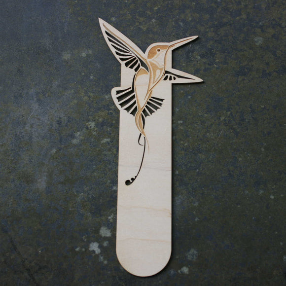 Wooden bookmark with a hummingbird design