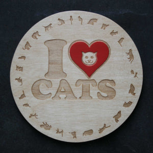 Wooden coaster with an I love cats design