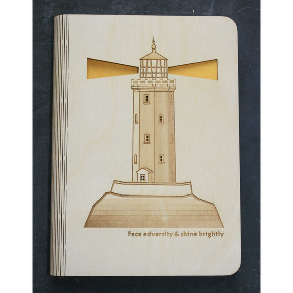 A5 Lighthouse wooden book cover
