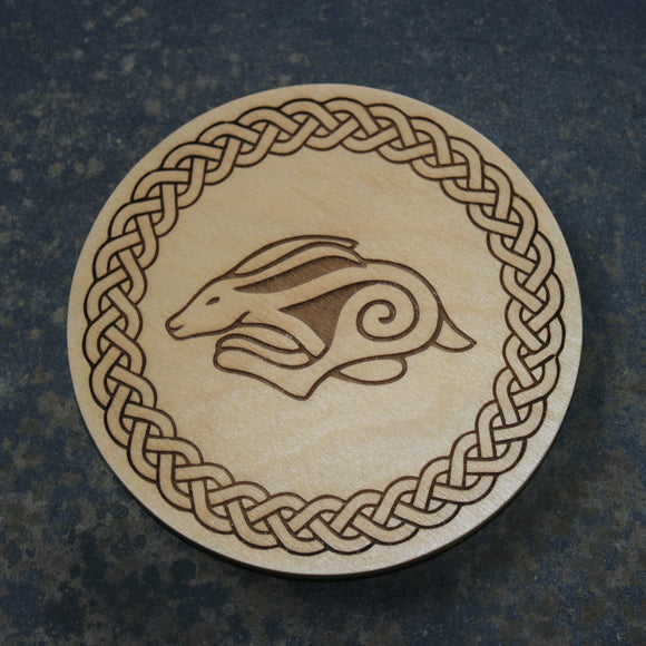 Celtic hare wooden coaster