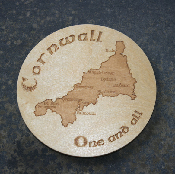 Wooden coaster with a Cornwall map design