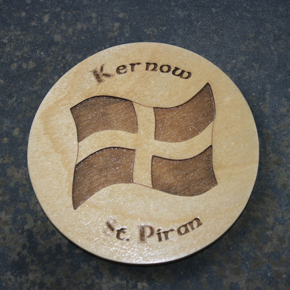 Kernow St. Piran's flag wooden coaster
