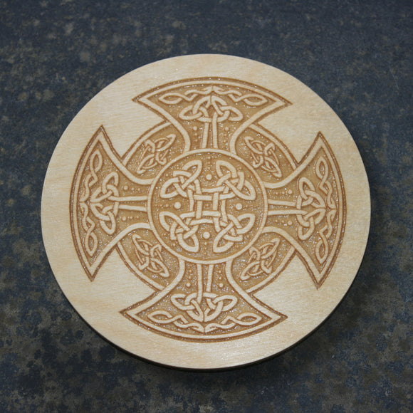 Wooden coaster with a Celtic cross design