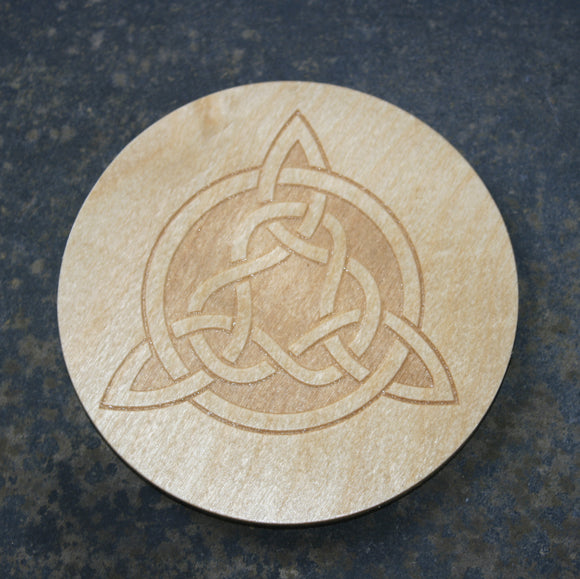 Celtic tri-knot wooden coaster
