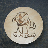 Wooden coaster with a dog design