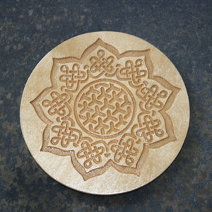 Celtic sunflower wooden coaster