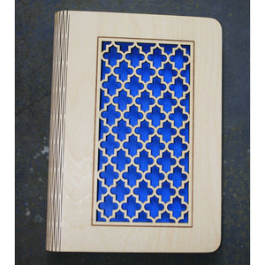 wooden note book cover with a moroccan lattice design