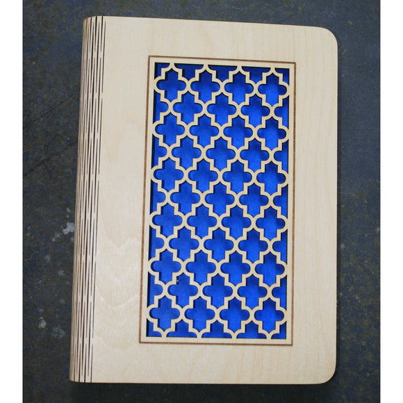 A5 Moroccan lattice wooden book cover
