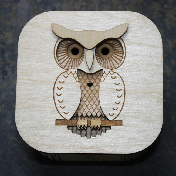 Wooden laser cut & engraved box with an owl design