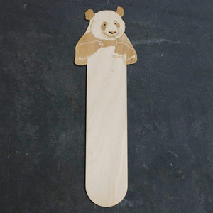 Wooden bookmark with a panda bear eating bamboo design