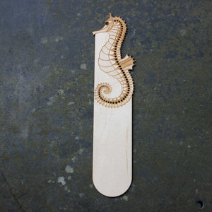 Wooden bookmark with a seahorse design