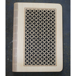 A5 Square lattice wooden book cover