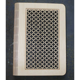 wooden note book cover with a square lattice design