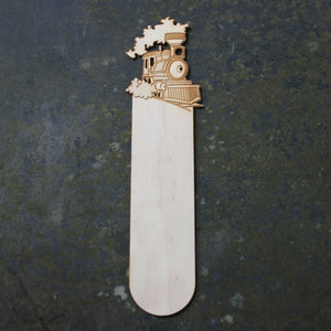 Wooden bookmark with a steam train design
