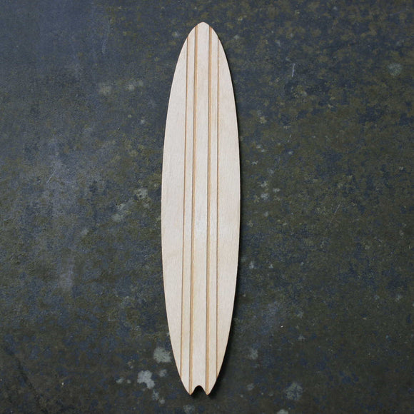 Wooden bookmark of a surfboard with a stripe design