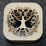 Wooden laser cut & engraved box with a Celtic tree of life design