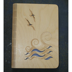 A5 Wave and gulls wooden book cover