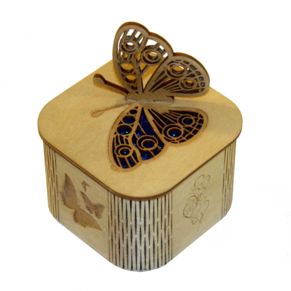 Wooden laser cut & engraved box with a butterfly design