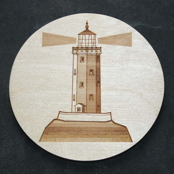 Wooden coaster with a lighthouse design