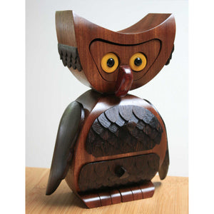 Wooden owl jewellery box in utile and wenge with 3 drawers
