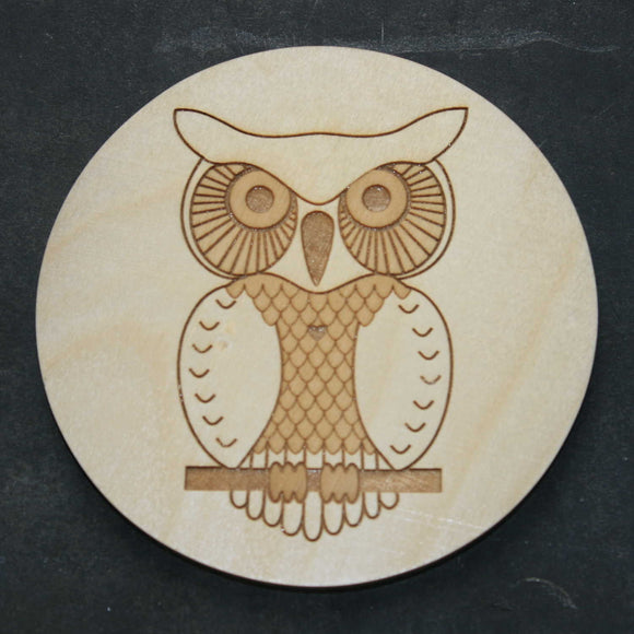 Owl wooden coaster