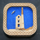 Wooden laser cut & engraved box with a tin mine design in blue