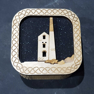 Wooden laser cut & engraved box with a tin mine design in black