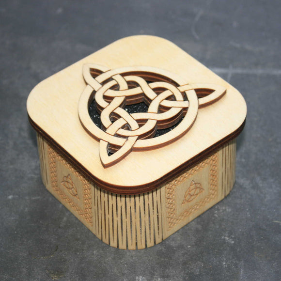 Wooden laser cut & engraved box with a Celtic tri-knot design