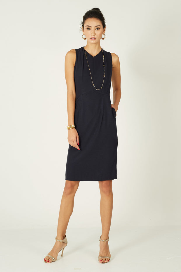 Dana Pleated Neck Dress