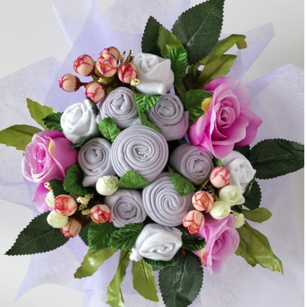A Lovely Lavender Baby Clothes Bouquet