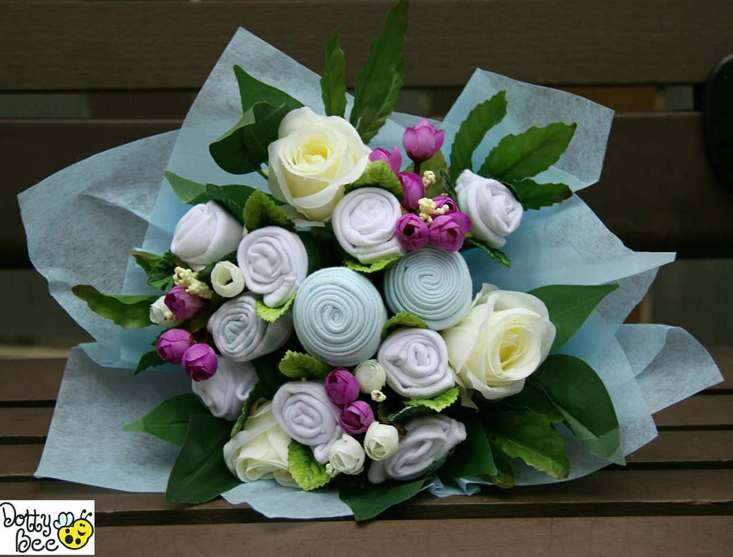 Blue baby clothes bouquet is a unique handmade baby gift for newborns.  Perfect newborn gift for baby shower.  Handmade baby gifts Hong Kong
