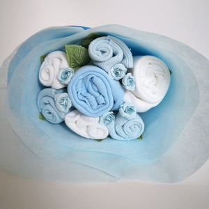 A Sweet Blue Buttercup Baby Clothes Bouquet