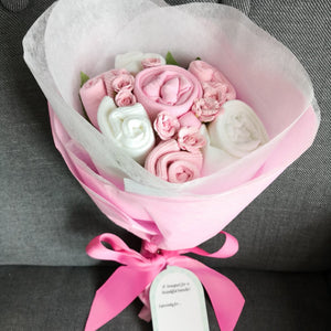A Sweet Pink Buttercup Baby Clothes Bouquet