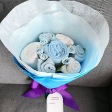 Load image into Gallery viewer, A Sweet Blue Buttercup Baby Clothes Bouquet