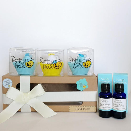 Mama & Baby - A Scrumptious Blue Cupcake Box with Relaxing Body & Bath Oils Gift Hamper