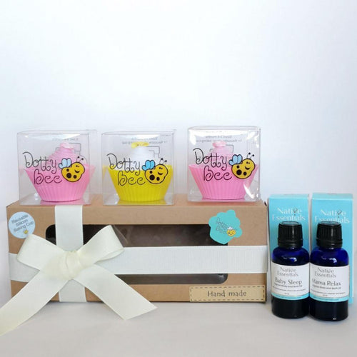 Mama & Baby - A Yummy Pink Cupcake Box with Relaxing Body & Bath Oils Gift Hamper