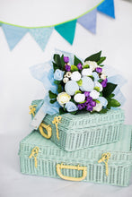 Load image into Gallery viewer, Blue baby clothes bouquet is a unique handmade baby gift for newborns.  Perfect newborn gift for baby shower.  Handmade baby gifts Hong Kong
