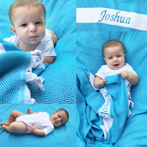 A Charming Blue Baby Clothes Bouquet & Personalized Blanket