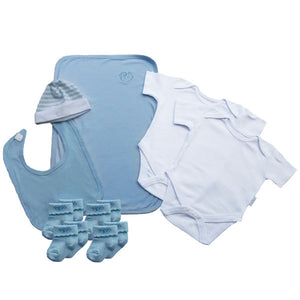 A Charming Blue Baby Clothes Bouquet and Inkless Print Kit Gift Hamper