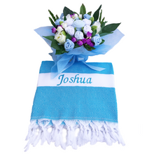 Load image into Gallery viewer, A Charming Blue Baby Clothes Bouquet & Personalized Blanket